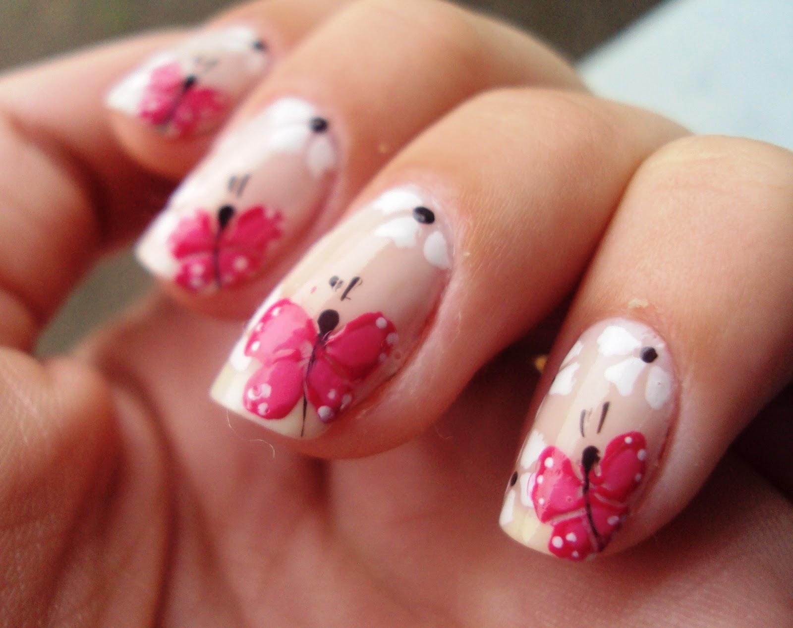 unhas decoradas com flores e borboletas fotos - unhas decoradas com borboletas e flores passo a Baidu