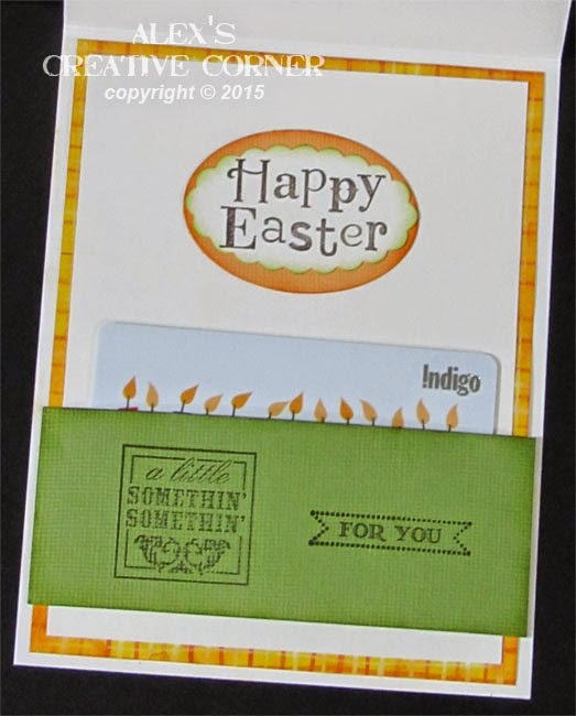 Alexs creative corner chick easter gift card holder the gift card is held in place by a strip of cardstock attached only on either side negle Gallery