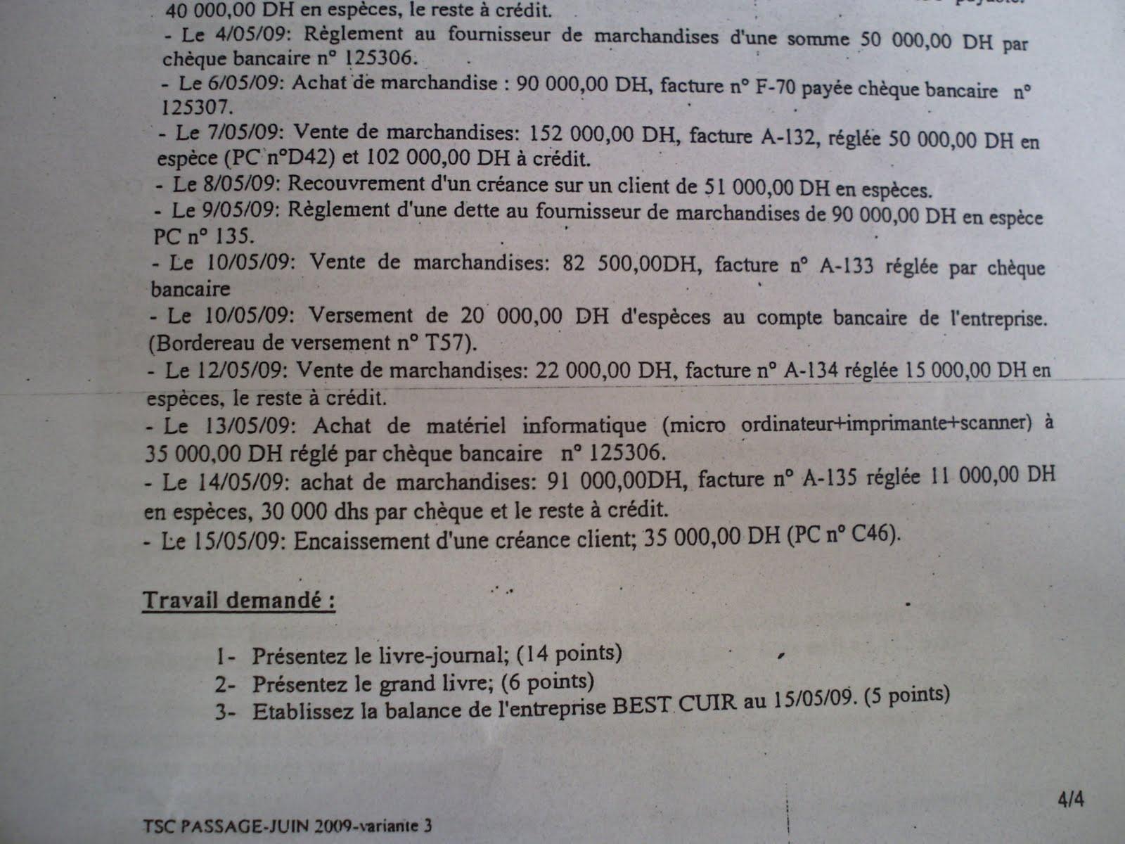 Examen de passage 2009 pratique variante 3 TSC 8