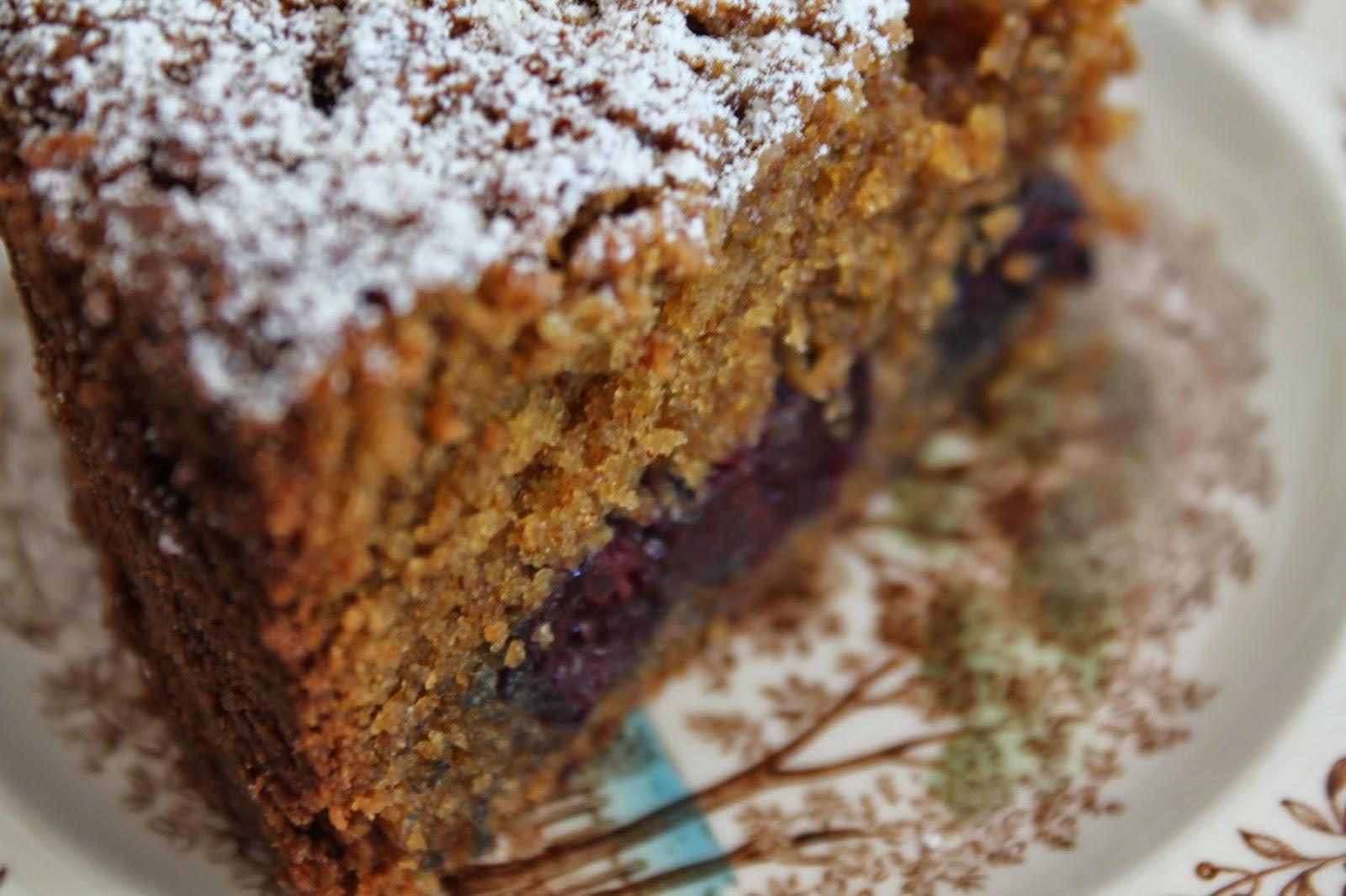 Slice of Blackberry Mace Cake with Spelt