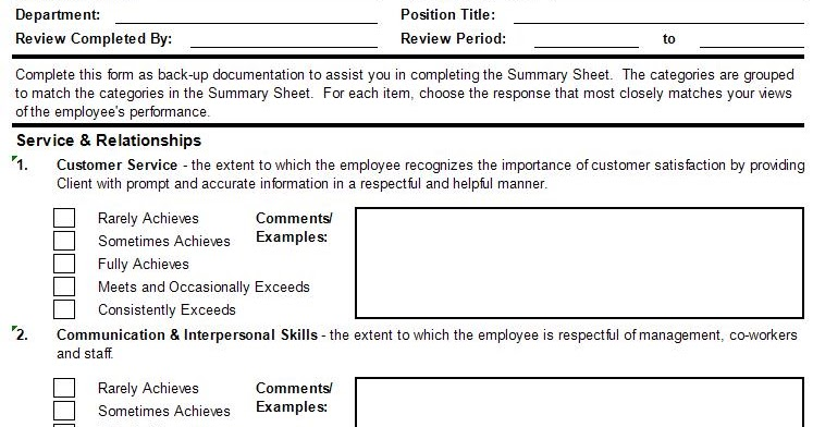 Performance Appraisal Form In Excel Format