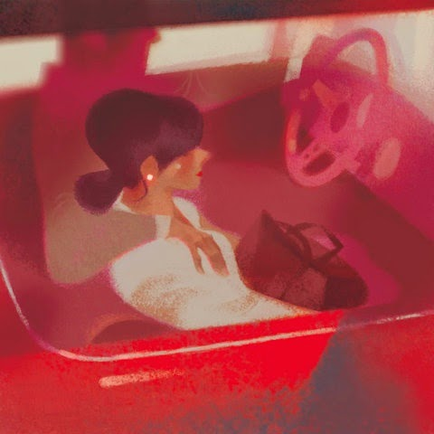 two lovers in a red car illustration by Annette Marnat