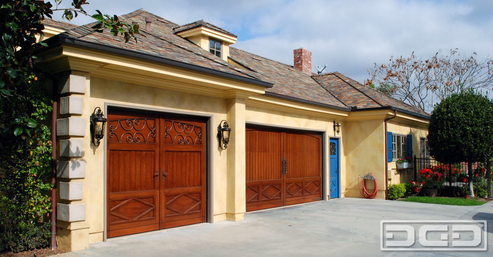 Custom Wood Garage Doors in a French Design