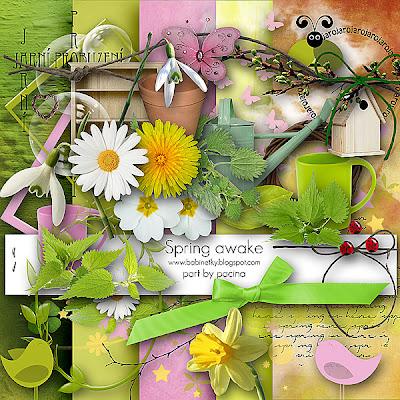 "Free scrapbook collab part ""Spring Awake"" from Paciny"