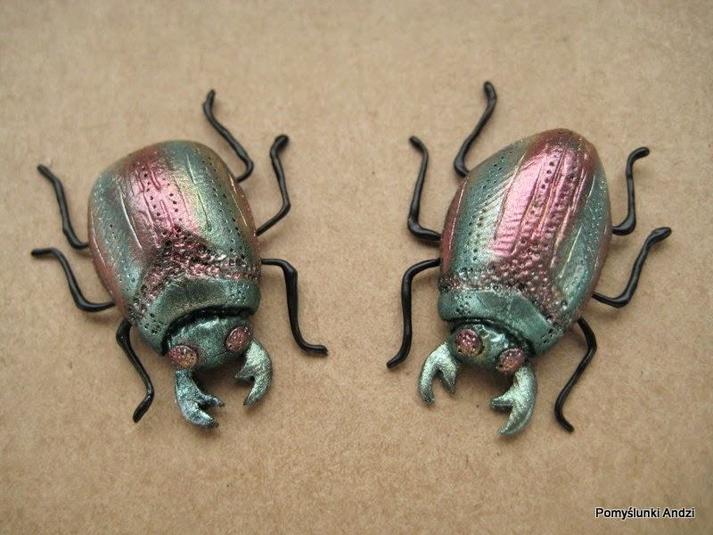 żuki, kolczyki, Etsy, earrings, studs, beetle,