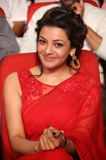 Actress Kajal Agarwal Latest Pictures in Red Saree at Govindudu Andarivadele Movie Audio Launch  019.jpg