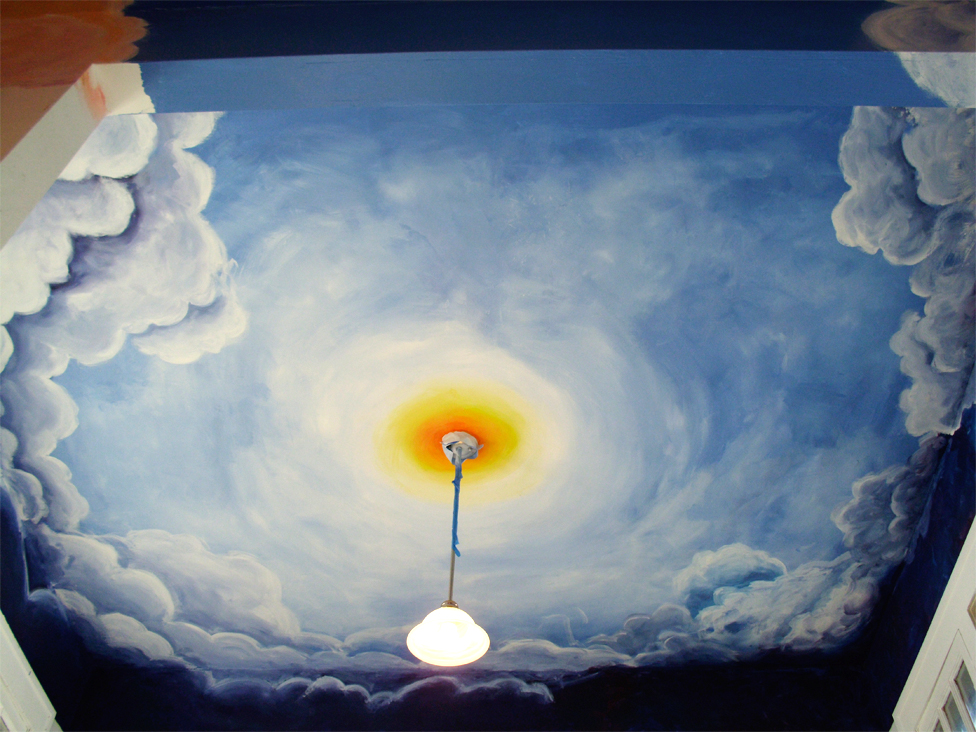 Laura e constans 39 arty bloggy cloud ceiling mural for Ceiling cloud mural