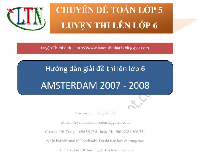 Đáp án đề thi môn toán vào lớp 6 trường Amsterdam 2007 - 2008