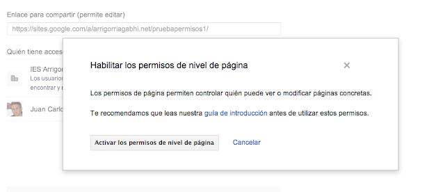Permisos en un Google Site para trabajar colaborativamente