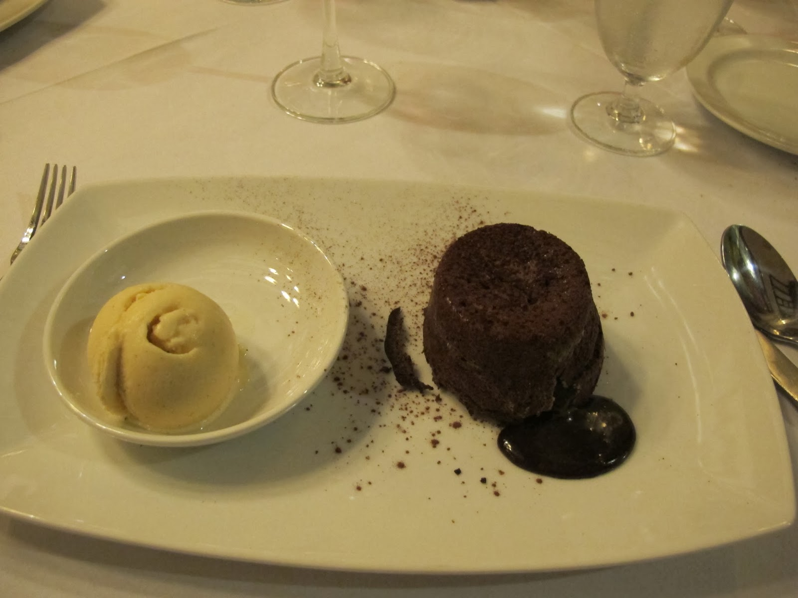Molten chocolate cake and homemade ice cream.  Yum!