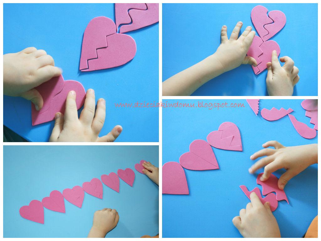 serduszkowa układanka, kreatywna zabawa dla dzieci na walentynki, ćwiczenie percepcji wzrokowej