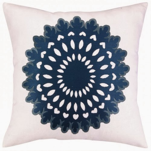COCOCOZY Wauwinet embroidered pillow in midnight and cornflower