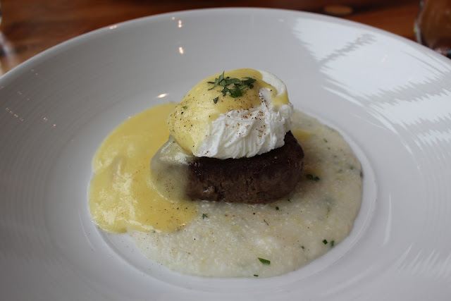 Poached farm egg with beef tournedo at Catalyst, Cambridge, Mass.
