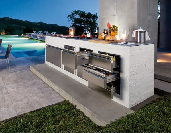 Modern outdoor kitchen design for minimalist house home for Modern outdoor kitchen designs