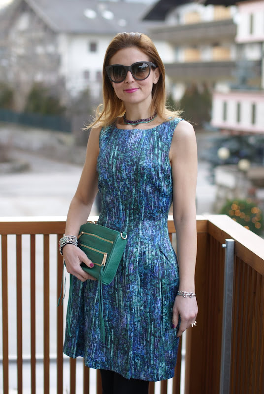 Zara party dress, sequin print dress, Rebecca Minkoff bag