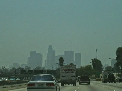 Blurred vision: smog shrouds the skyline of Los Angeles (Credit: Magnus Manske via Wikimedia Commons) Click to enlarge.