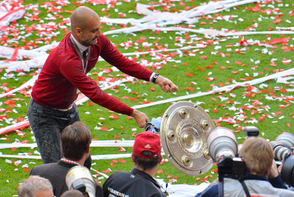 Pep Guardiola drops Bundesliga trophy