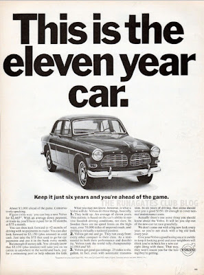 "Classic VOLVO advertisement. ""This is the eleven year car."""