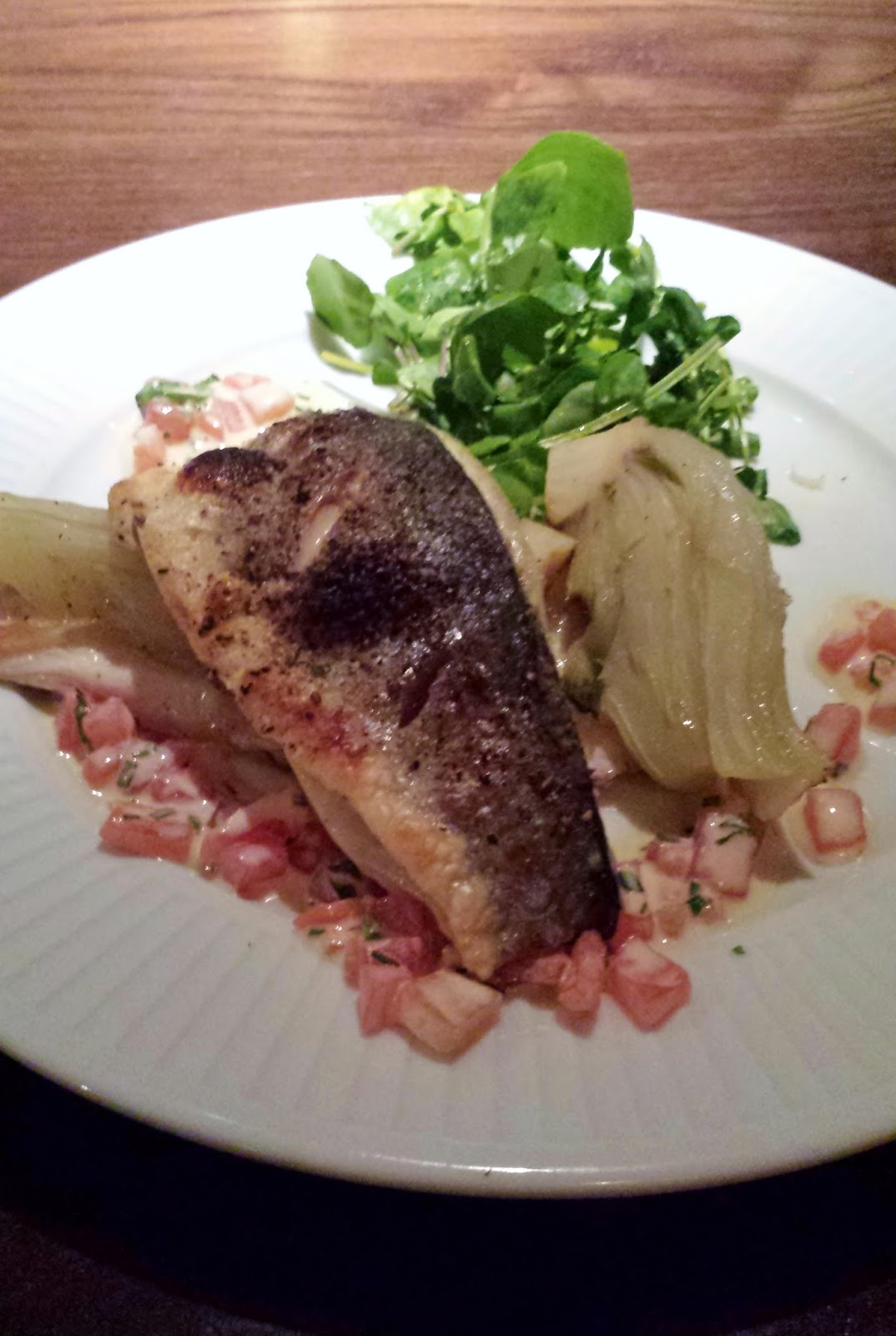 Roasted seabass at Cote Brasserie