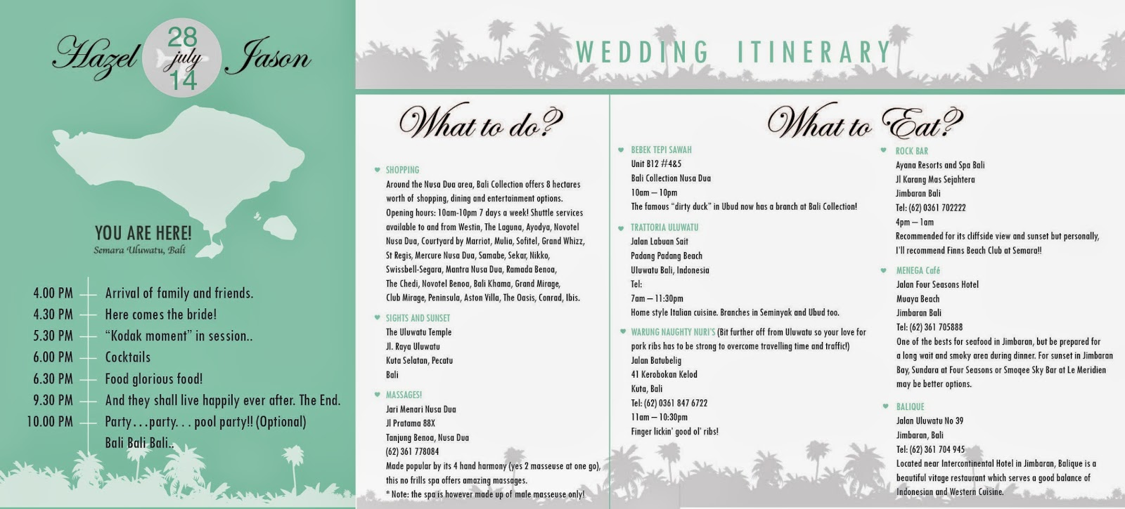 E-Itinerary Design, a Wedding at Semara Uluwatu Cliff, Bali, Indonesia