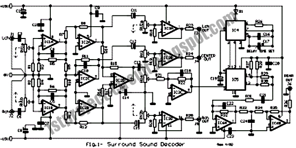 project circuit design  surround sound decoder circuit