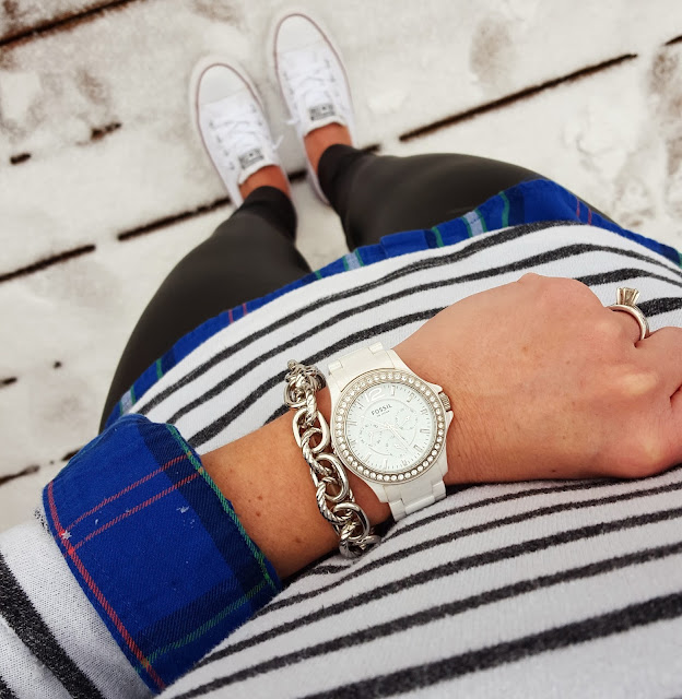 Forever 21 Striped Shirt (similar) // Old Navy Plaid Shirt (this year's version) // Hue Faux Leather Leggings // Converse Tennis Shoes // Saks Off Fifth Link Bracelet - only $10, regular $25! // Fossil Watch (similar under $50)