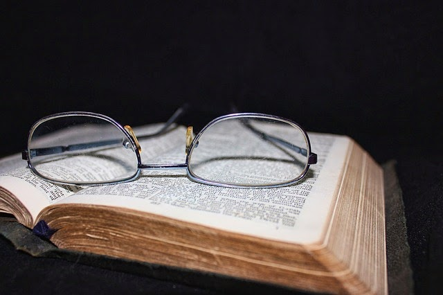 A pair of glasses on a book.  Image source: http://pixabay.com/p-83126/?no_redirect
