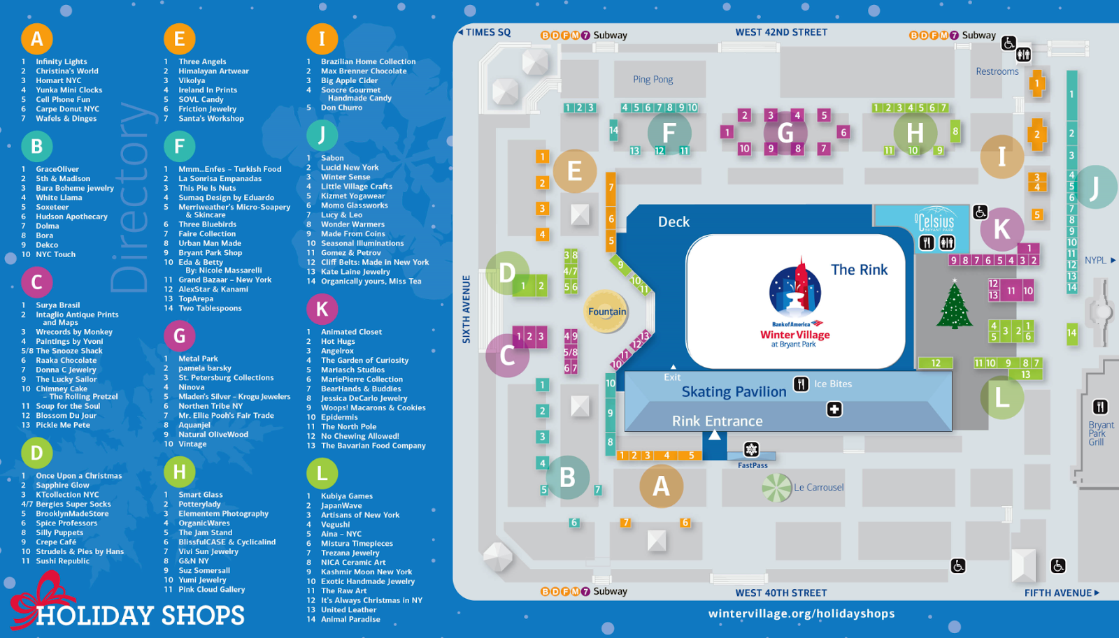 Bryant Park Blog Winter Village 2014 Holiday Shops Map And Directory Released