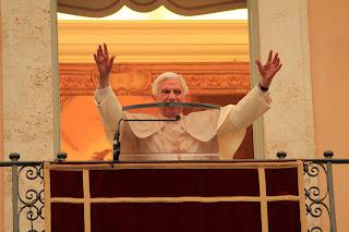 Pope Benedict XVI greeted pilgrims at Castelgandolfo