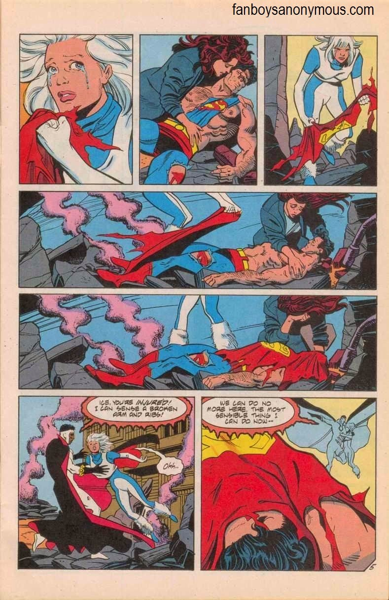 DC Comics hero Ice covers dead Superman with his cape