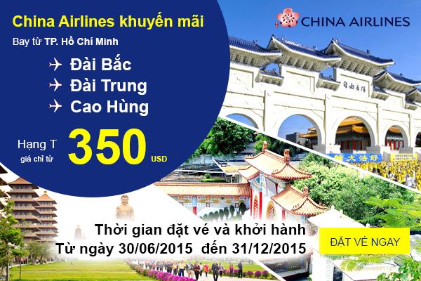 Vé máy bay giá rẻ đi Đài Loan của hãng hàng không China Airlines