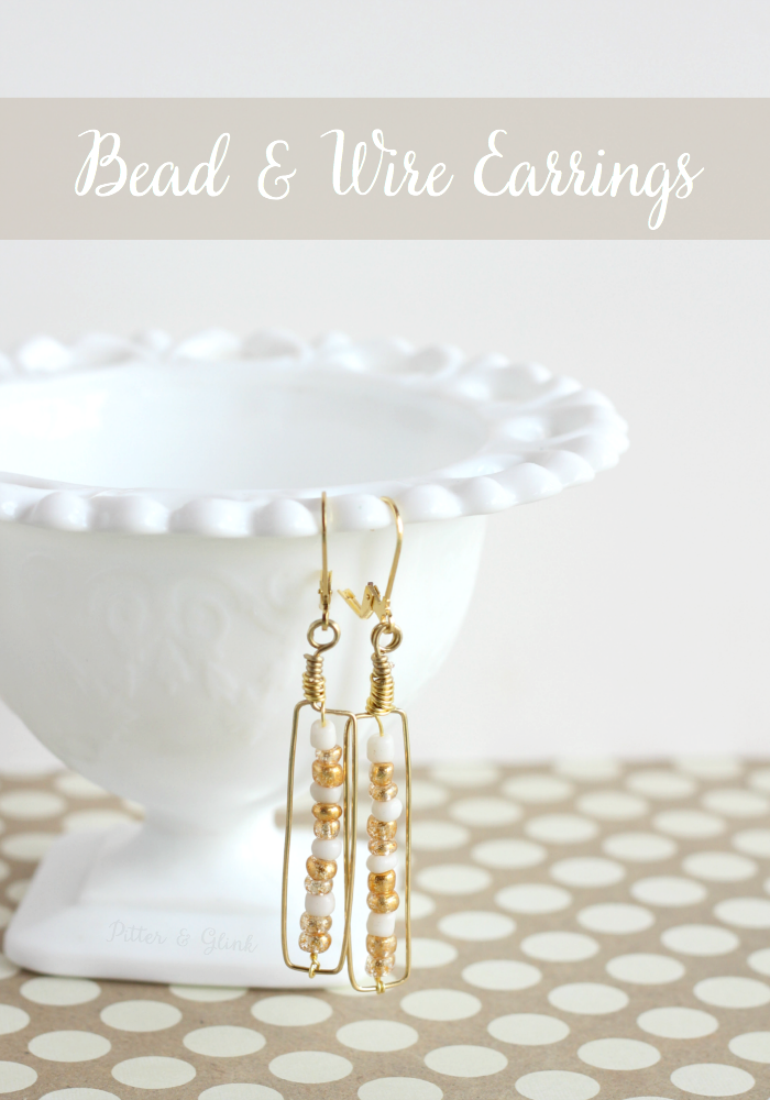 DIY Gold & White Beaded Wire Earrings from pitterandglink.com