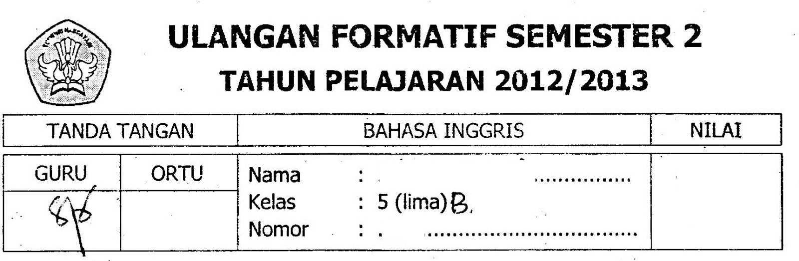 Inggris Kelas 5 Ulangan Formatif Semester 2 Ta 2012 2013 Sunarto S Kom