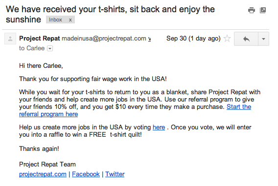 Confirmation Email from Project Repat