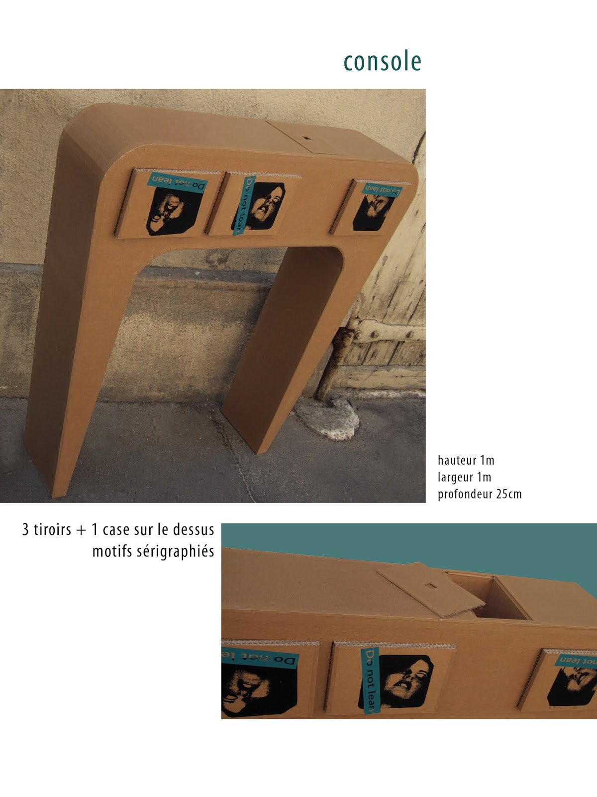 console en carton. meuble en carton case et tiroirs. création sur mesure fabriqué à marseille par juliadesign.