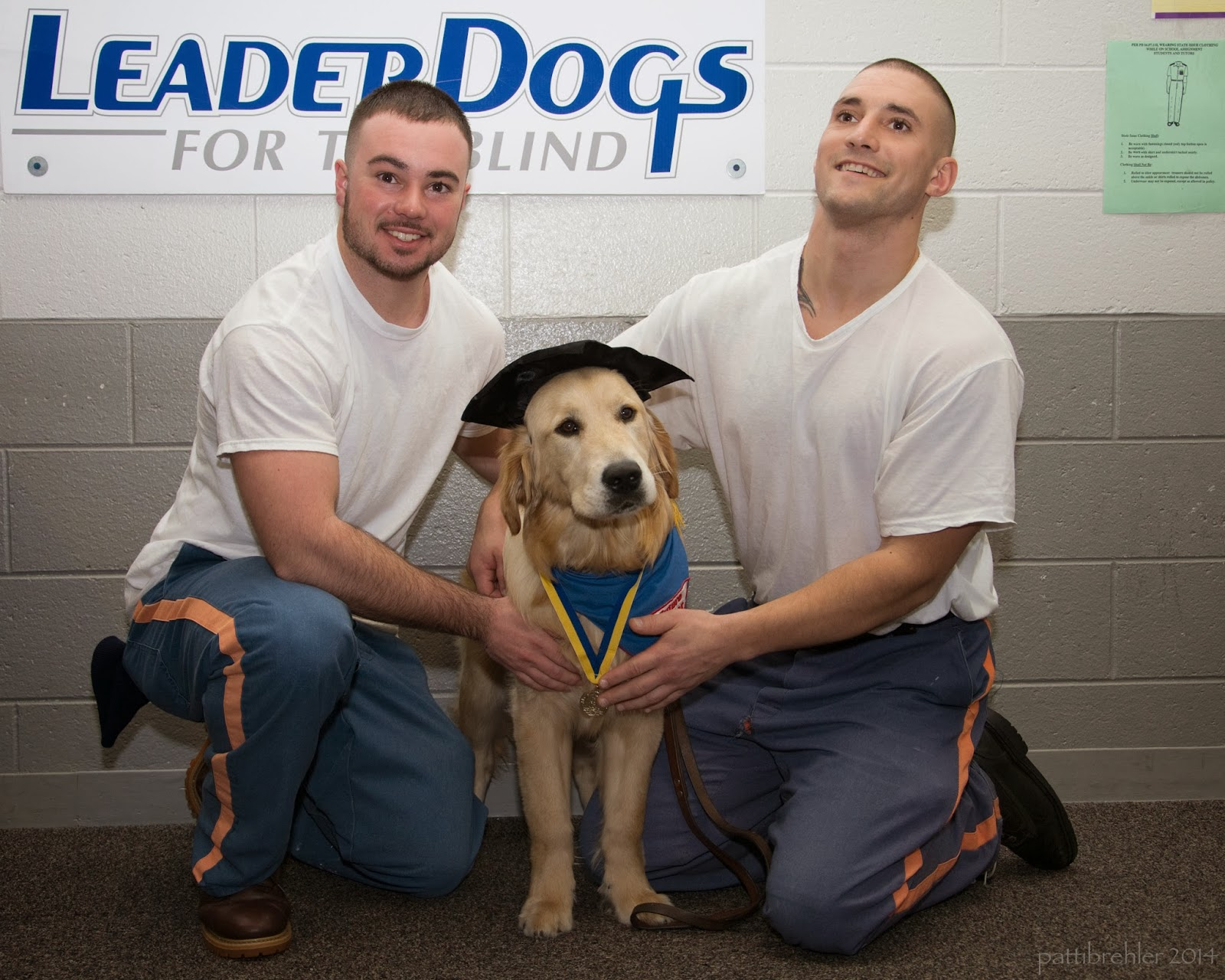 The same two men are kneeling on either side of the golden retriever, who is now wearing the black graduation hat.