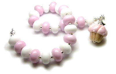 Lampwork glass and sterling silver cupcake bracelet