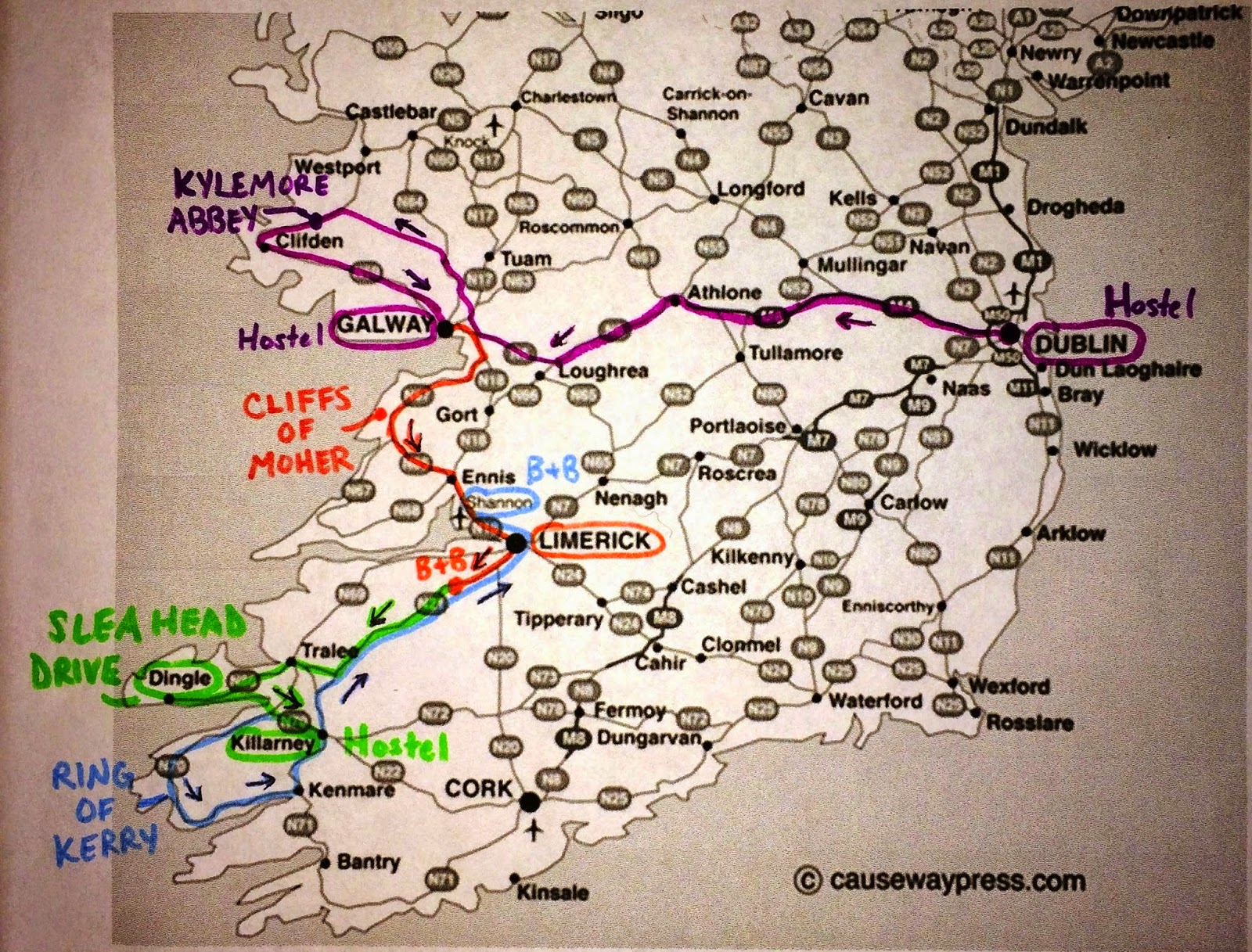 and creating a route that will be best for us making sure to hit all the major landmarks and scenic drives the map below shows our planned route