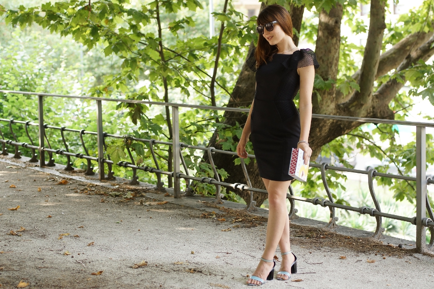 A chic outfit featuring a special Little Black Dress , a book clutch and blue Zara sandals.