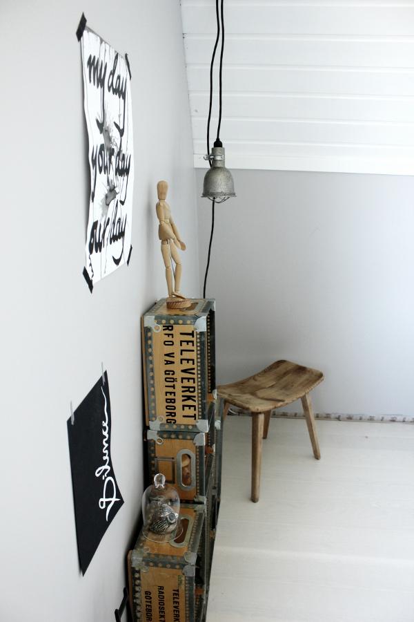 inredning arbetsrum, arbetsrum nyrenoverat, nymålad vägg, trälådor som hyllor, manekin av trä, manekin, trären pall, pall av trä, inredningstips, inreda ett rum, vit parkett, gråa väggar, grå färg, svartvita prints