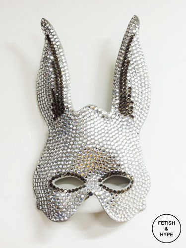 Fetish Accessories : Heather Huey : Bunny Mask With Round Faceted Rhinestones