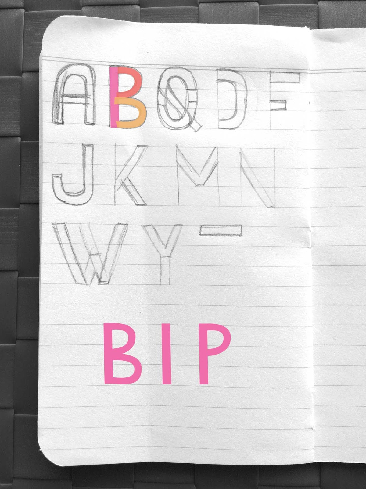 Drawing letters B, I, and P - Create a font with minimal sketching