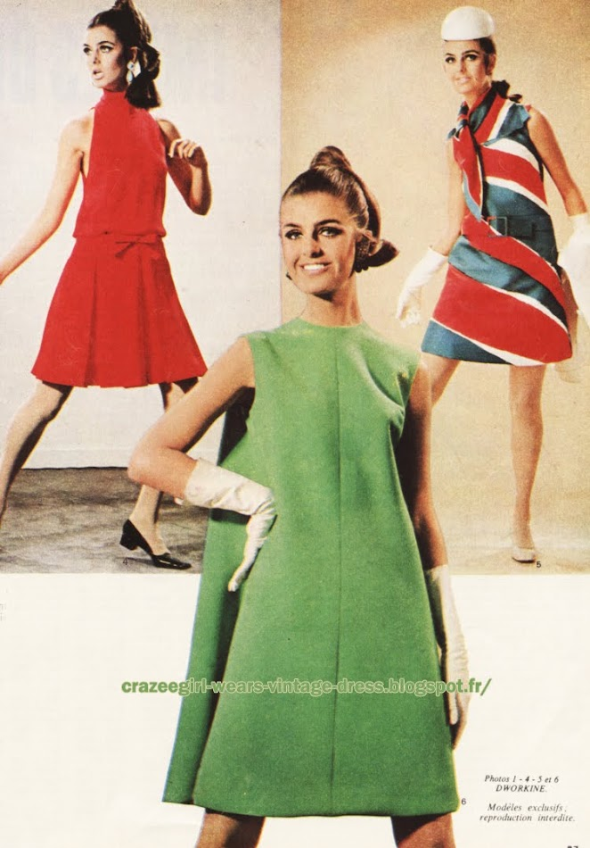 Dress 1967 Nina Ricci Jean Patou M De Rauch 1960 60s mod striped stripe