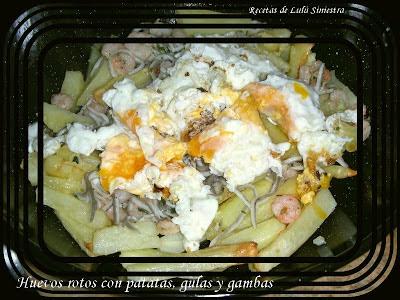 Sarten De Huevos Rotos Con Patatas, Gulas Y Gambas
