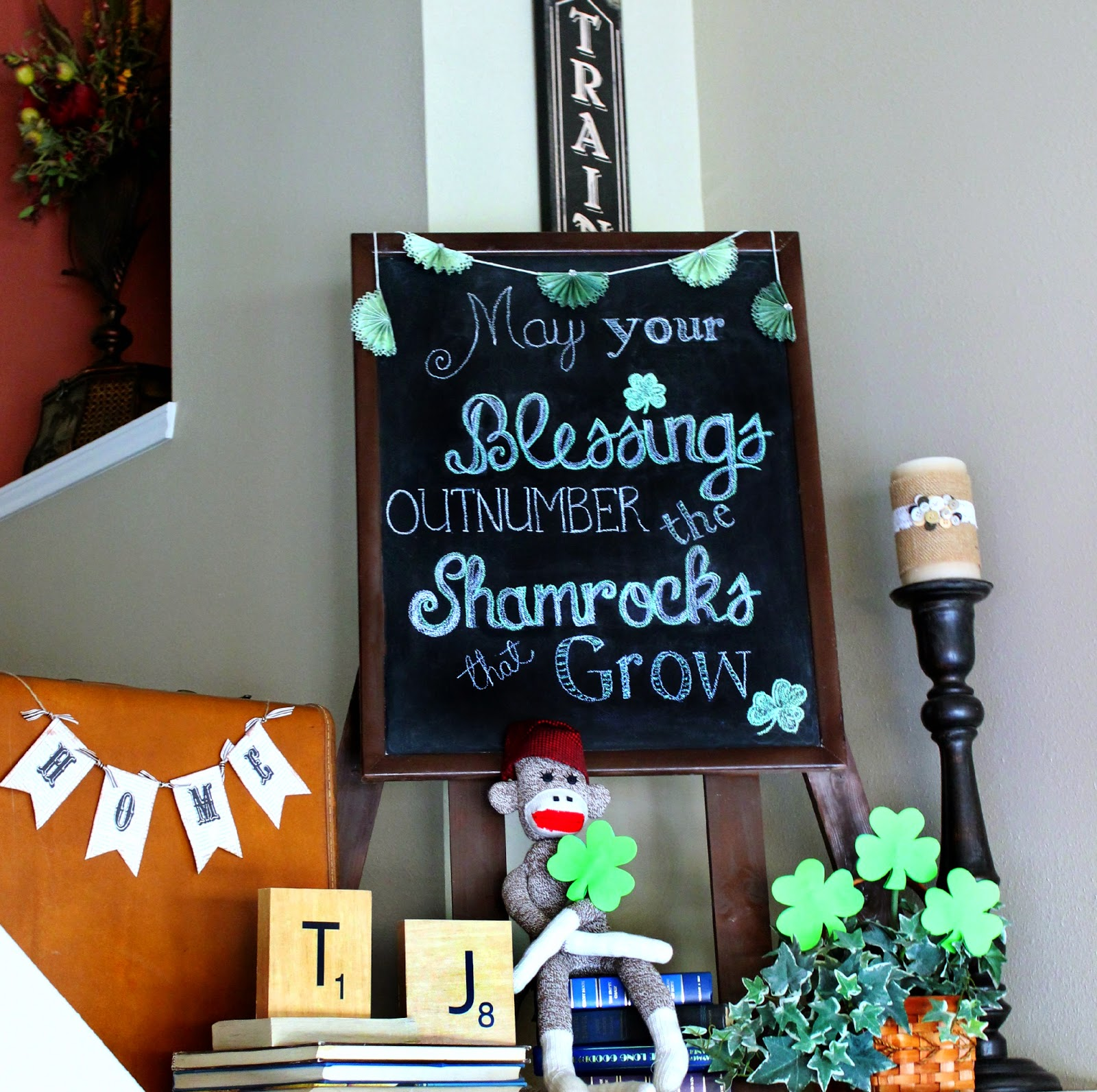 shamrocks, Irish Blessing, St. Paddy's Day, chalkboard art, chalkboard DIY