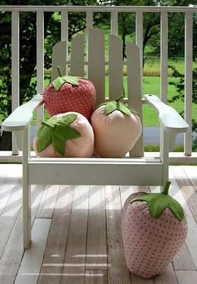 almofada patchwork -  morango
