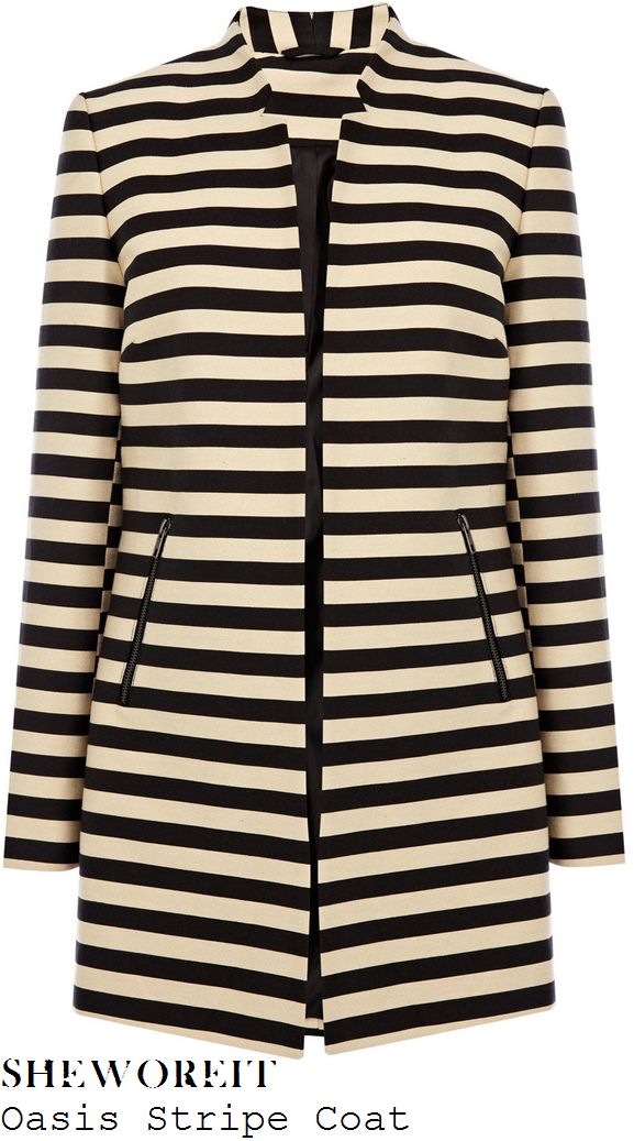 laura-whitmore-black-and-white-cream-stripe-coat