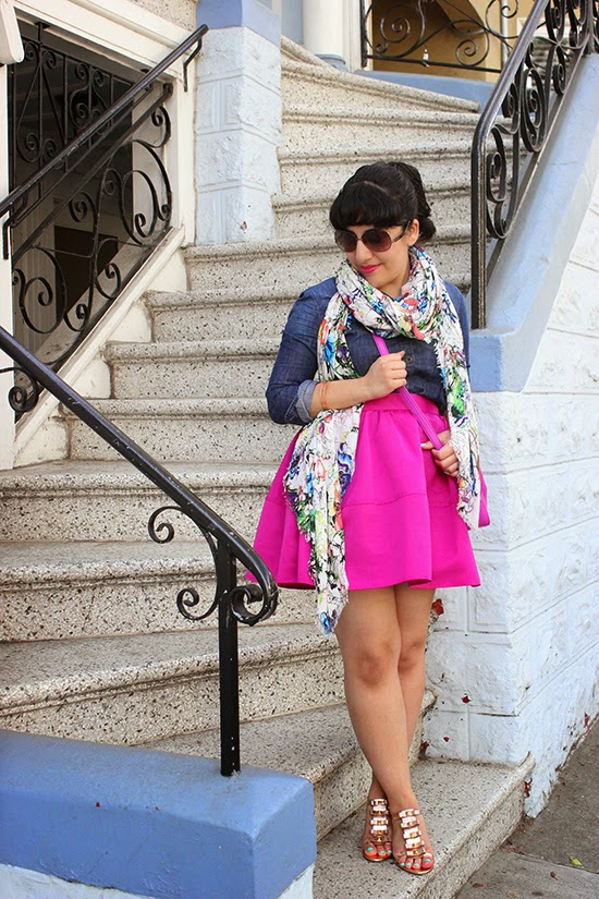 Floral Scarf, Chambray Shirt and Pink Cupcake Skirt