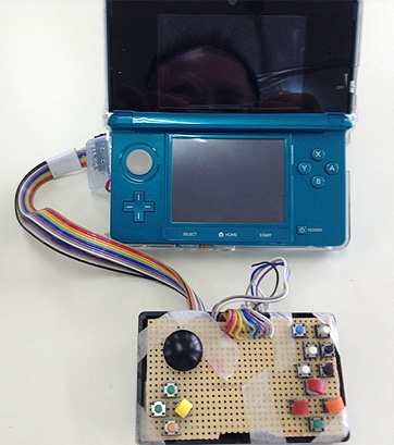 Custom controller adapted for a Nintendo 3DS: Let's Project via Hirake55.com (Accessible Gaming)