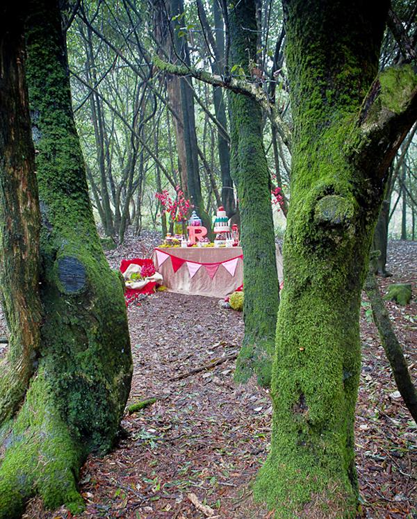 fiesta de cumpleaños infantil en el bosque
